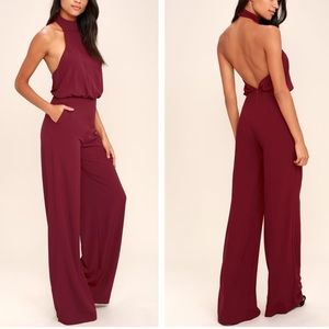 Lulu's MOMENT FOR LIFE WINE RED HALTER JUMPSUIT